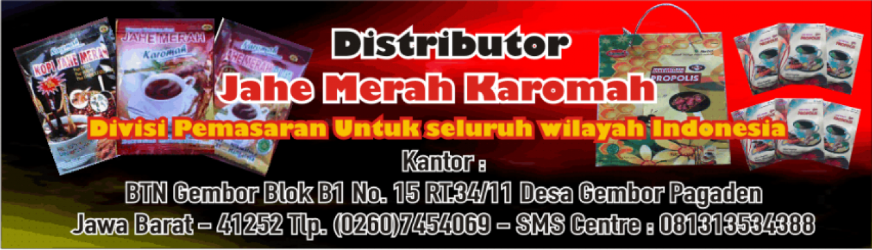 Distributor Resmi Jahe Merah Karomah
